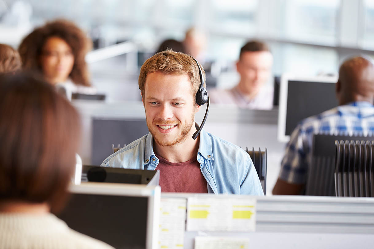 Man in a call center